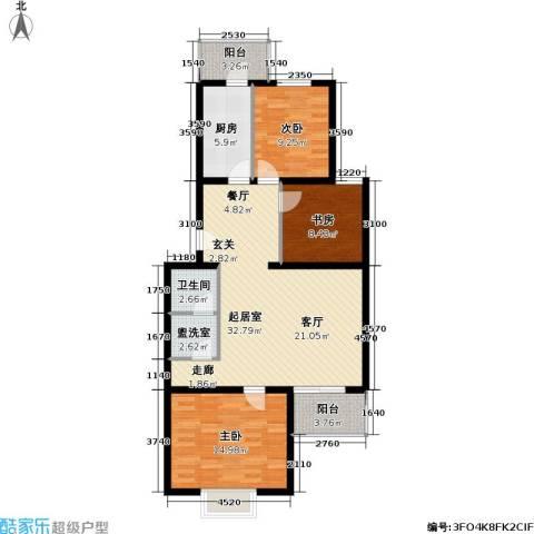 飞腾温泉家园3室0厅1卫1厨95.00㎡户型图