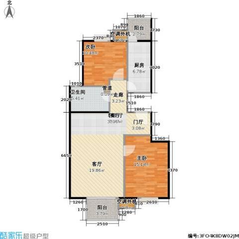 彩虹街区2室1厅1卫1厨96.00㎡户型图
