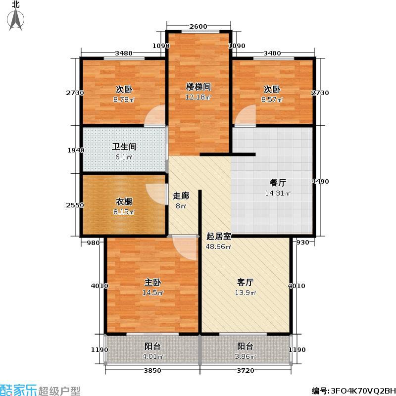 万邦都市花园三期房型户型3室1卫