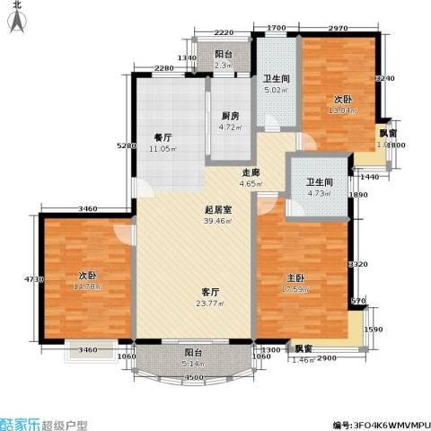 东方名筑-馥园3室0厅2卫1厨106.78㎡户型图