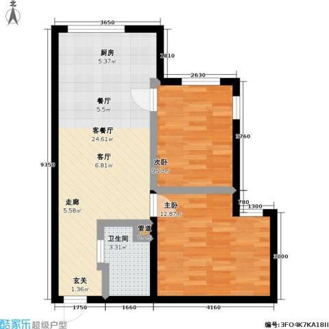 雅戈尔都市华庭2室1厅1卫0厨57.83㎡户型图