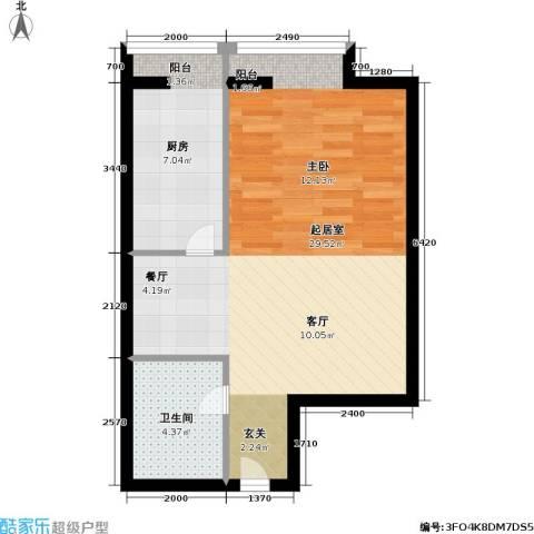 当代名筑家园1卫1厨46.00㎡户型图