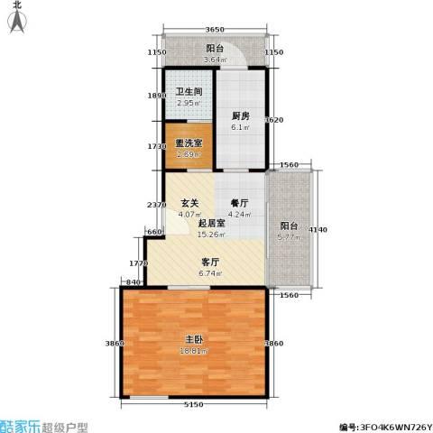 凌兆佳苑1室0厅1卫1厨60.00㎡户型图