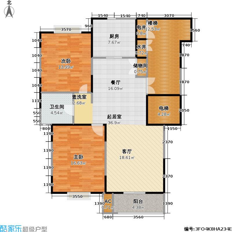 东方家园二期112.92㎡房型: 二房; 面积段: 112.92 -156.83 平方米; 户型