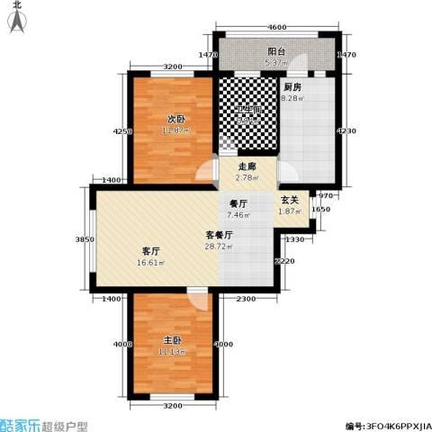 富佳新天地2室1厅1卫1厨102.00㎡户型图