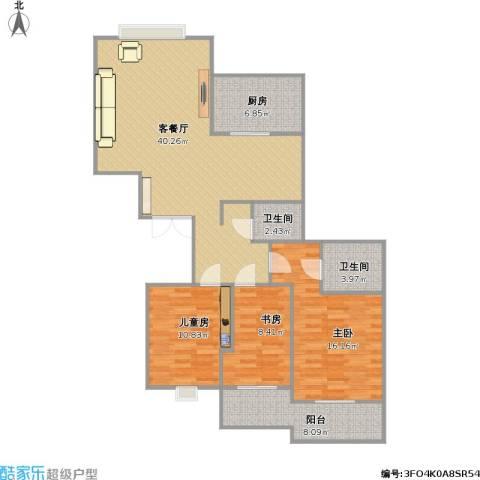 湘超景园3室1厅2卫1厨131.00㎡户型图