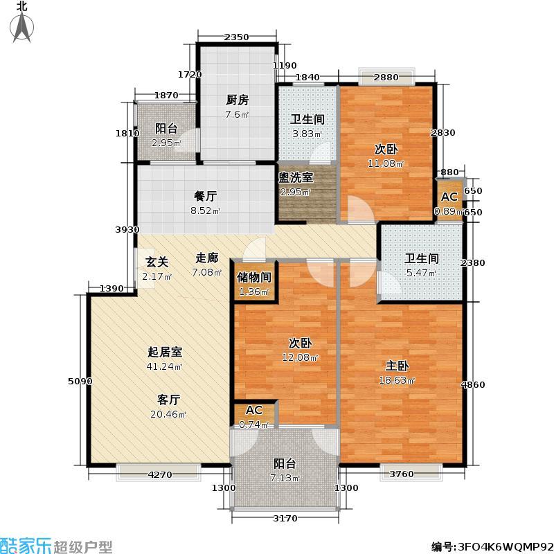 春申万科城四期122.00㎡房型: 三房; 面积段: 122 -131 平方米; 户型