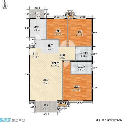 彩虹街区3室1厅2卫1厨125.00㎡户型图