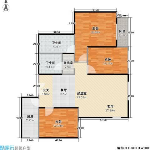 柏林在线3室0厅2卫1厨118.00㎡户型图