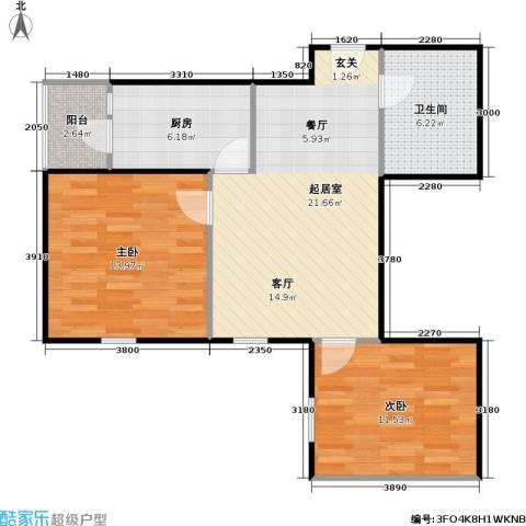 柏林在线2室0厅1卫1厨67.00㎡户型图