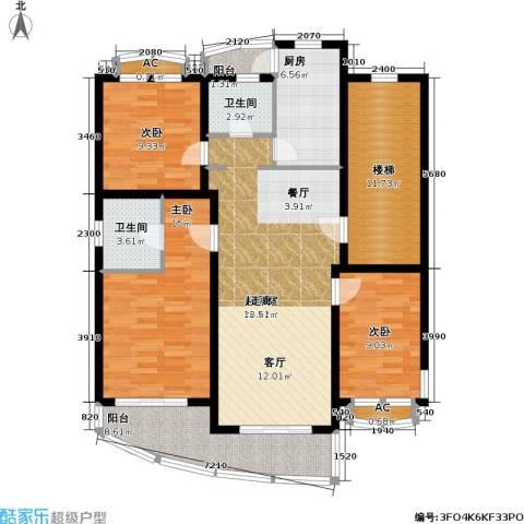 浦江花苑3室0厅2卫1厨114.00㎡户型图