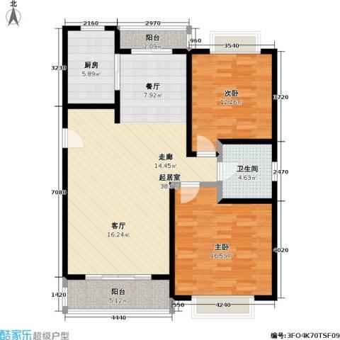 城市丽景泰燕华庭2室0厅1卫1厨93.00㎡户型图