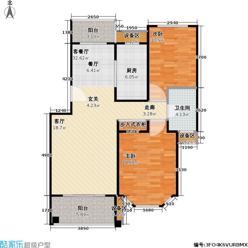 宝地绿洲城二期88.31㎡房型: 二房; 面积段: 88.31 -102.85 平方米;户型