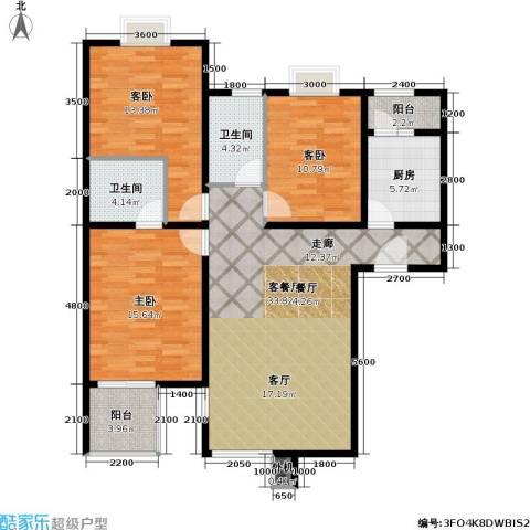 京品3室1厅2卫1厨103.00㎡户型图