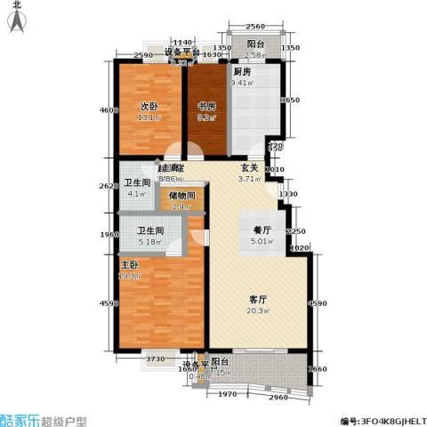 保利欣苑3室0厅2卫1厨128.00㎡户型图