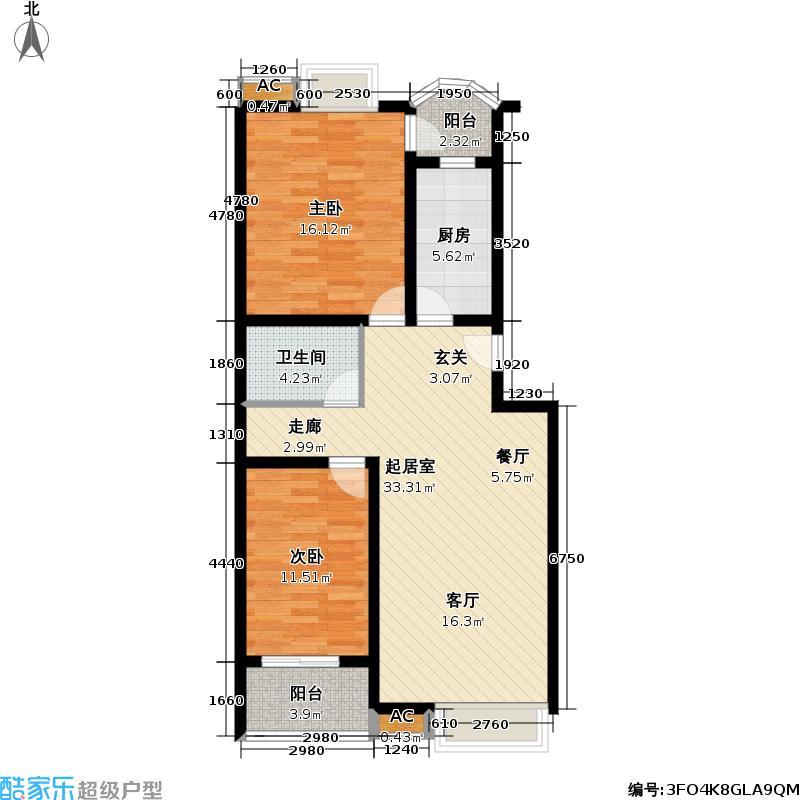 世嘉丽晶89.15㎡二室二厅-89.15㎡户型