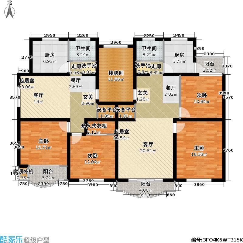 景浦公寓房型户型4室2卫2厨