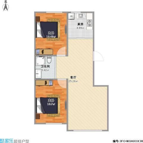 雍达华仁公馆2室1厅1卫1厨74.00㎡户型图