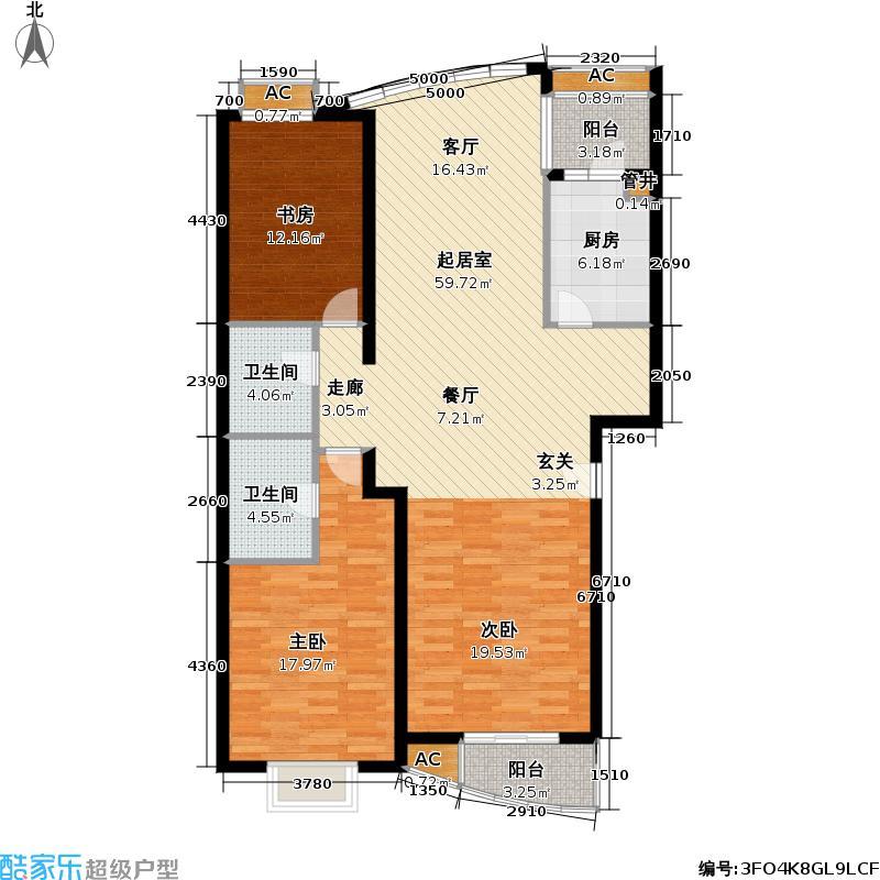世嘉丽晶127.61㎡3室 2厅 2卫 1厨 127.61平方米户型