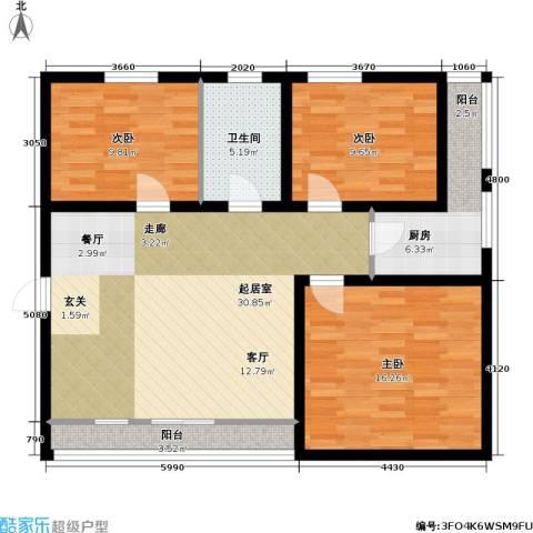 东苑世纪茗苑3室0厅1卫1厨116.00㎡户型图