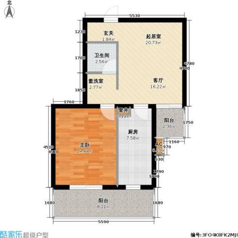 飞腾温泉家园1室0厅1卫1厨65.00㎡户型图