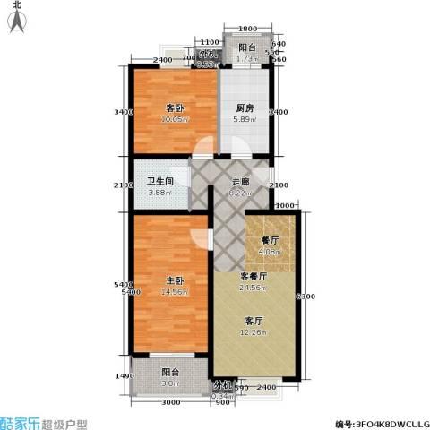 京品2室1厅1卫1厨75.00㎡户型图
