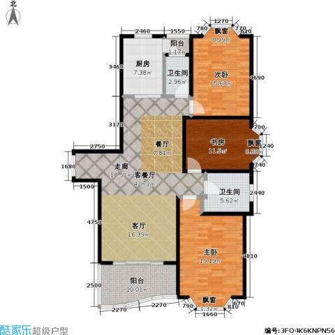 锦澳家园3室1厅2卫1厨160.00㎡户型图