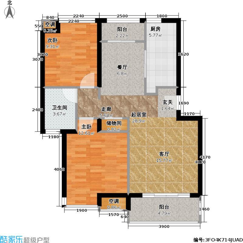 上海奥林匹克花园二房二厅一卫,面积约79.39平方米户型
