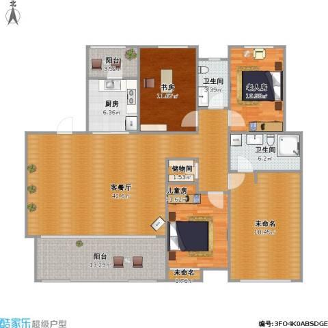 万科金域华府3室1厅2卫1厨175.00㎡户型图