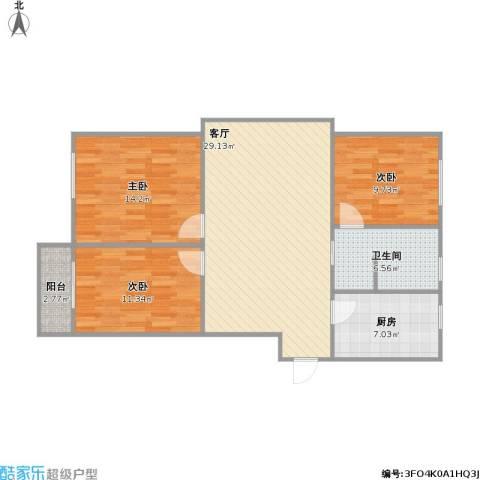景城名郡3室1厅1卫1厨108.00㎡户型图