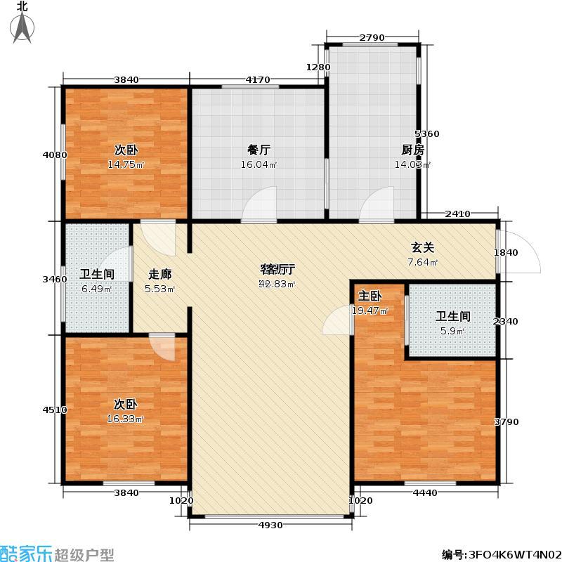 裕兴花园户型3室2厅2卫1厨