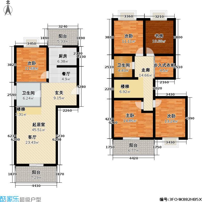 天地新城177.50㎡五室两厅两卫户型