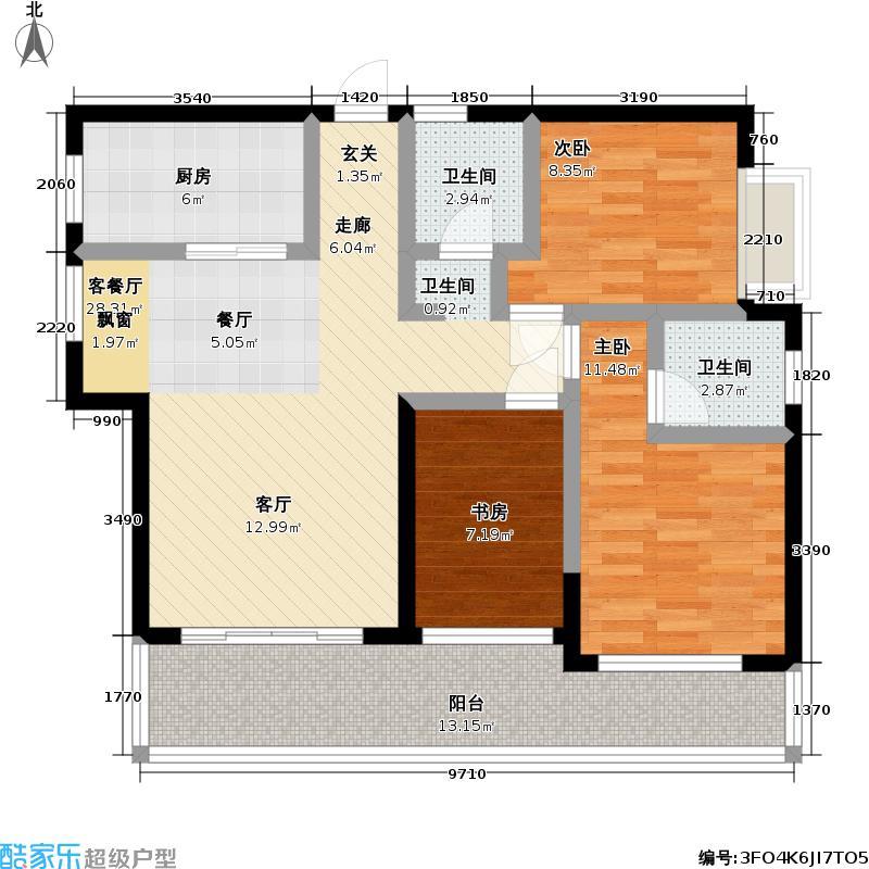 世联华府B5户型 5#3室2厅2卫户型3室2厅2卫