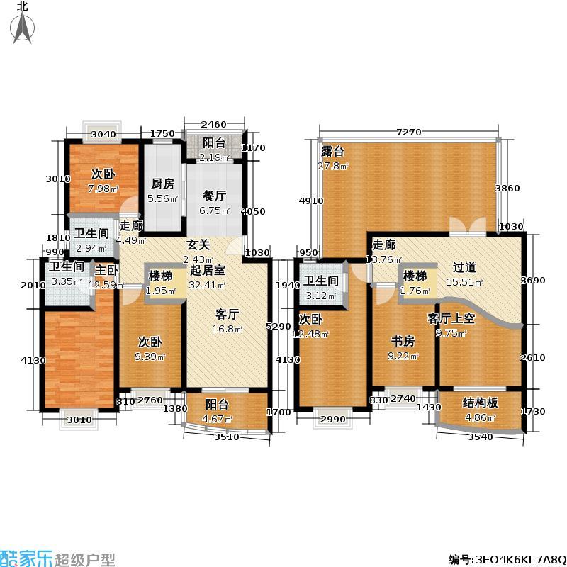 西郊河畔家园187.00㎡房型: 五房; 面积段: 187 -188 平方米;户型