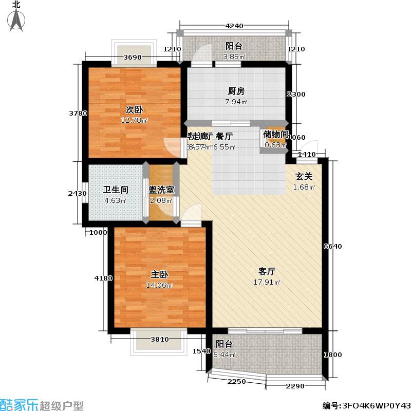 莎海惠晨苑房型户型2室1厅1卫1厨