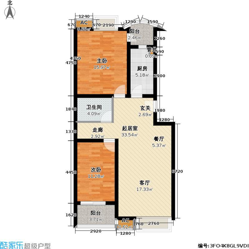 世嘉丽晶89.15㎡两室两厅一卫户型