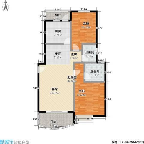 东方名筑-馥园2室0厅2卫1厨87.89㎡户型图