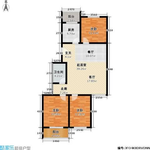 绿洲晶城3室0厅1卫1厨103.00㎡户型图