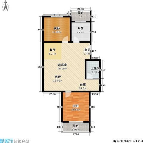 绿洲晶城2室0厅1卫1厨92.00㎡户型图