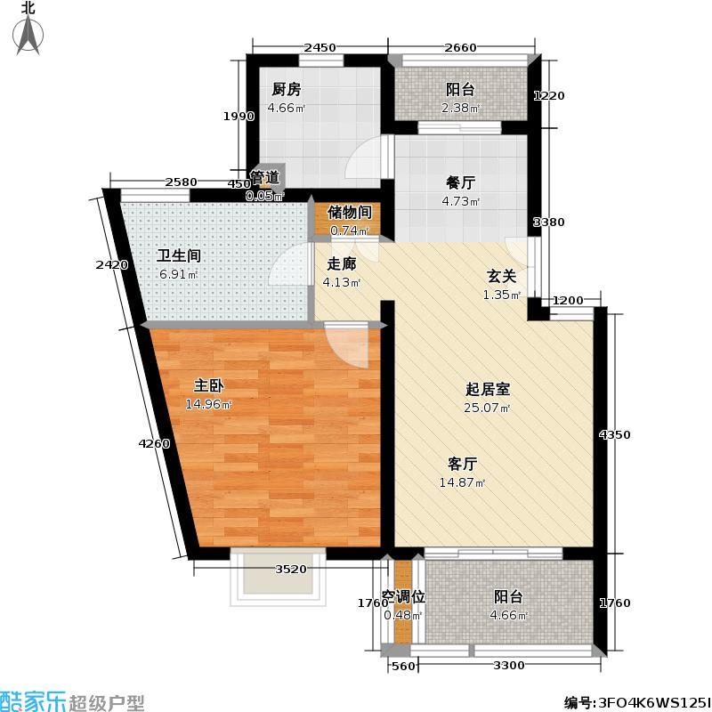 东兰兴城三期房型户型1室1卫1厨