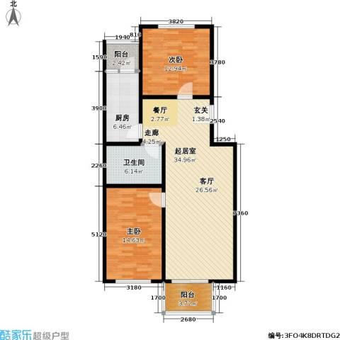 绿洲晶城2室0厅1卫1厨91.00㎡户型图