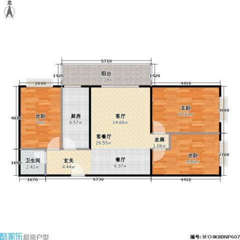 兴琦家园3室1厅1卫1厨92.00㎡户型图