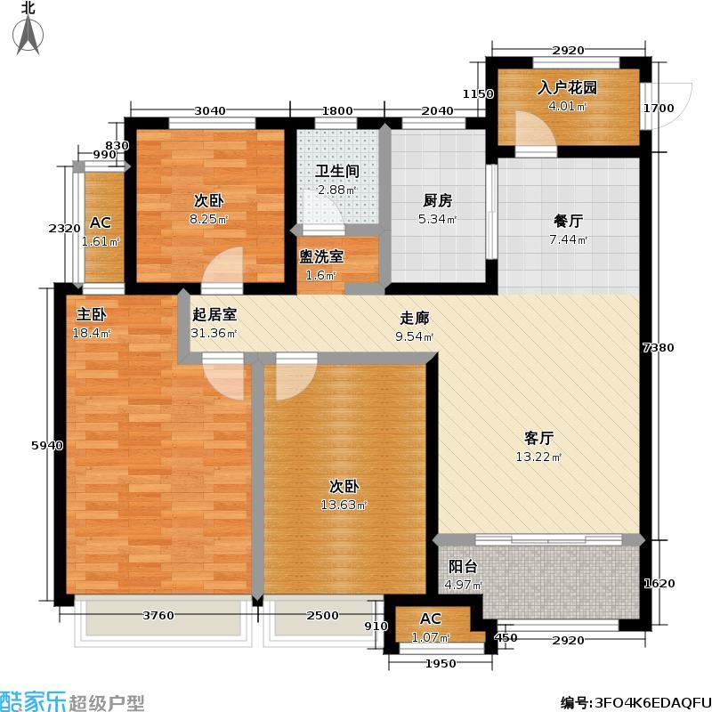 金科城106.00㎡D户型三室两厅一厨一卫户型3室2厅1卫