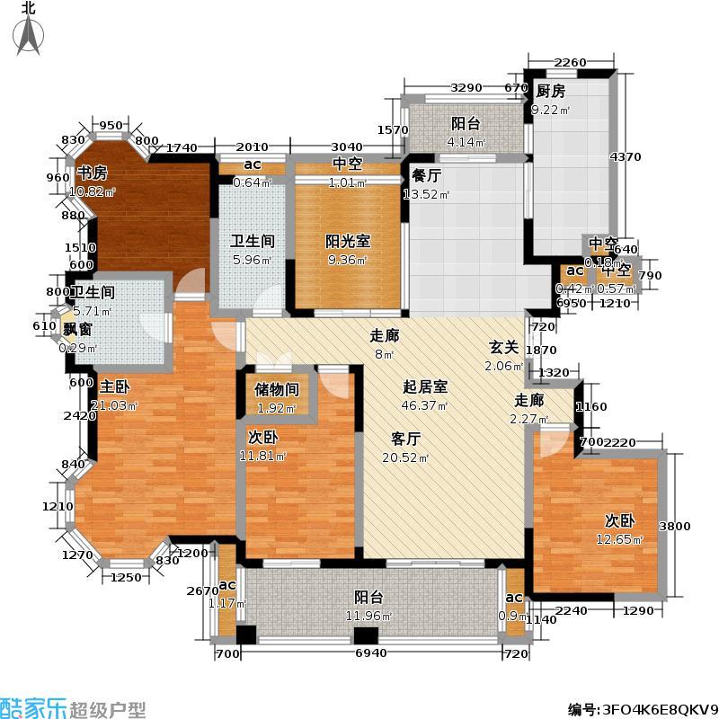 永新秀郡184.00㎡高层标准层H户型4室2厅2卫