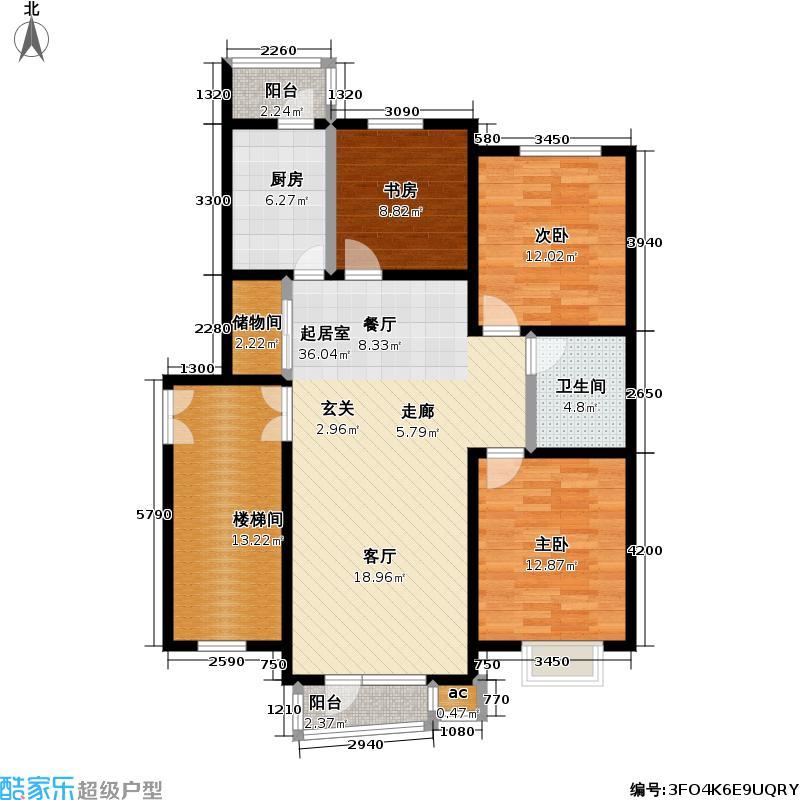 天嘉水晶城111.11㎡多层C户型 三室二厅一卫户型