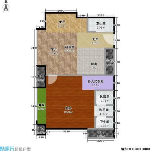 工体3号1室0厅2卫0厨66.00㎡户型图