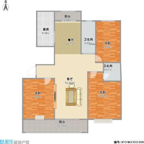 万泰秀水湾3室1厅2卫1厨192.00㎡户型图