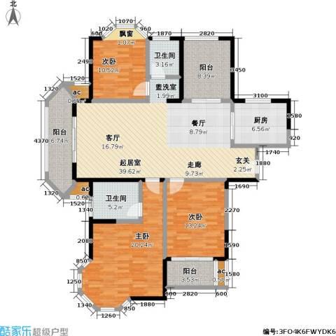 永新秀郡3室0厅2卫1厨138.00㎡户型图