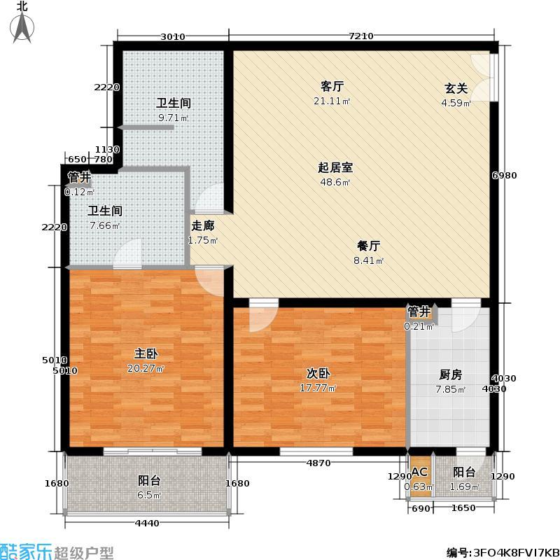 国展・国际134.82㎡2室1厅2卫1厨户型