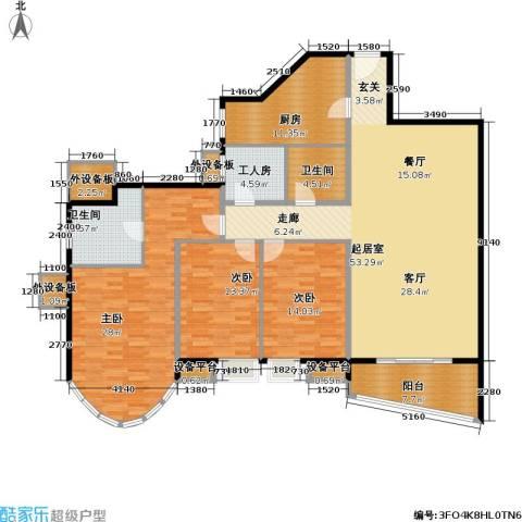 珠江绿洲3室0厅2卫1厨164.00㎡户型图